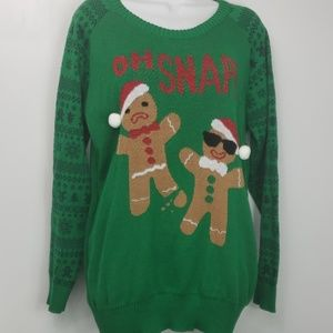 Ugly christmas sweater oh snap gingerbread men XXL